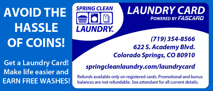 Spring Clean Laundry has pre-paid Laundry Cards!
